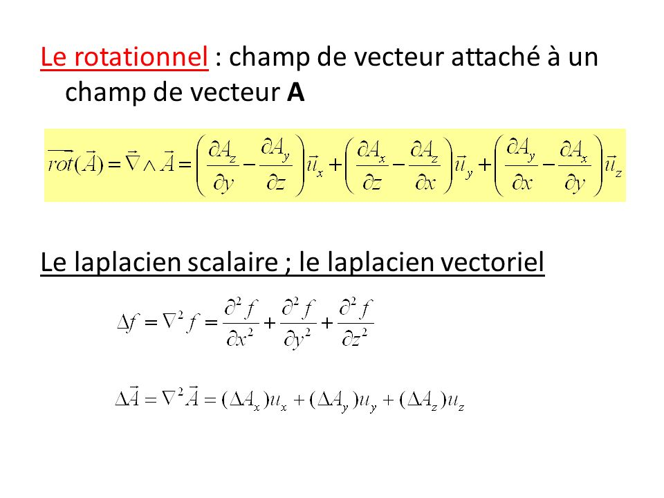 Le rotationnel : champ de vecteur attaché à un champ de vecteur A Le laplacien scalaire ; le laplacien vectoriel