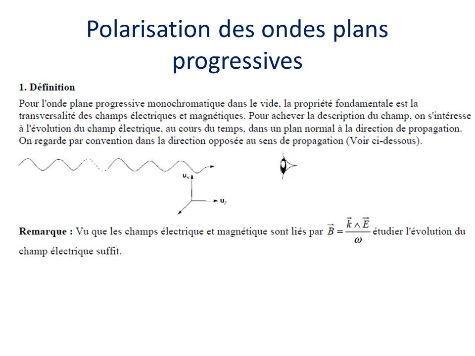 Polarisation des ondes plans progressives