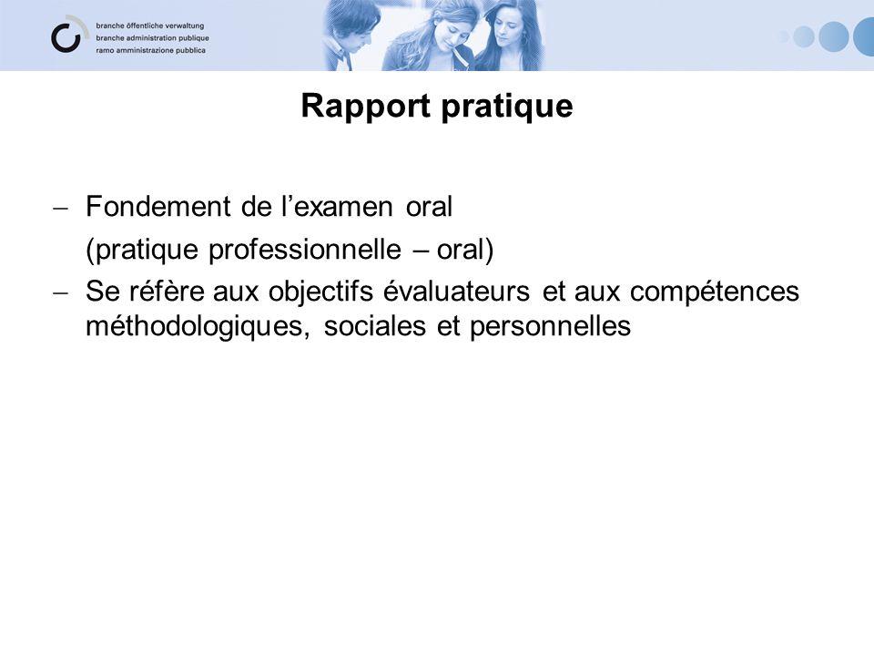 Rapport pratique Fondement de l'examen oral