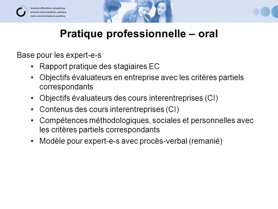 Pratique professionnelle – oral