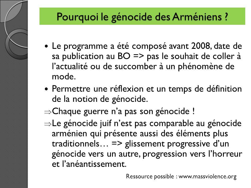 Pourquoi le génocide des Arméniens