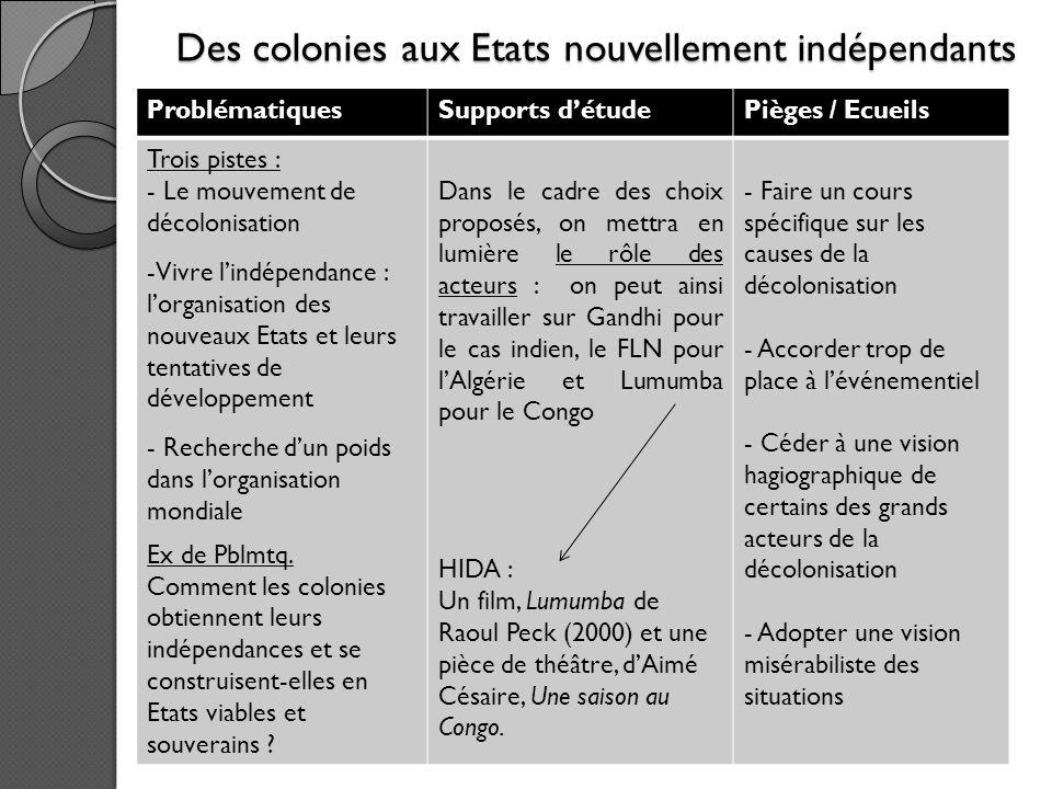 Des colonies aux Etats nouvellement indépendants