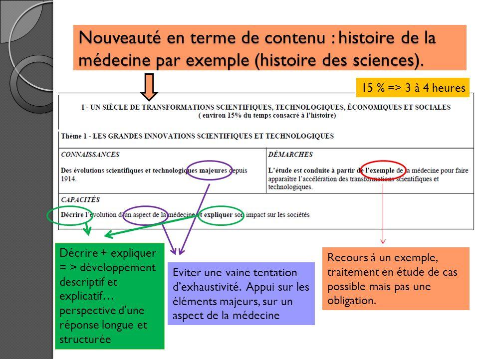 Nouveauté en terme de contenu : histoire de la médecine par exemple (histoire des sciences).