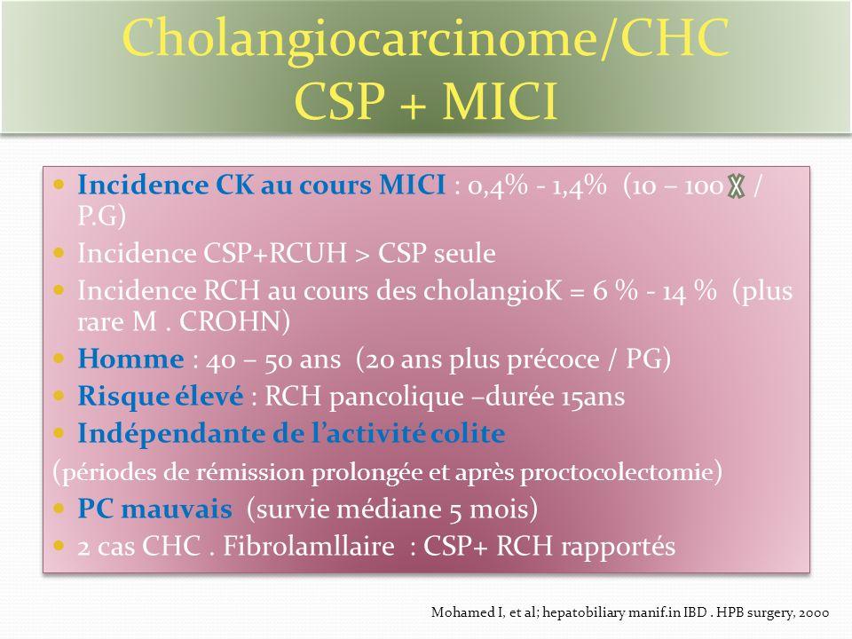 Cholangiocarcinome/CHC CSP + MICI