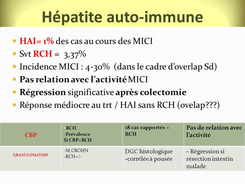 Hépatite auto-immune HAI= 1% des cas au cours des MICI Svt RCH = 3,37%