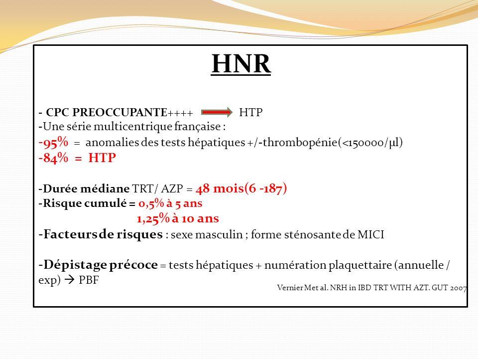 HNR CPC PREOCCUPANTE++++ HTP. Une série multicentrique française : 95% = anomalies des tests hépatiques +/-thrombopénie(<150000/µl)