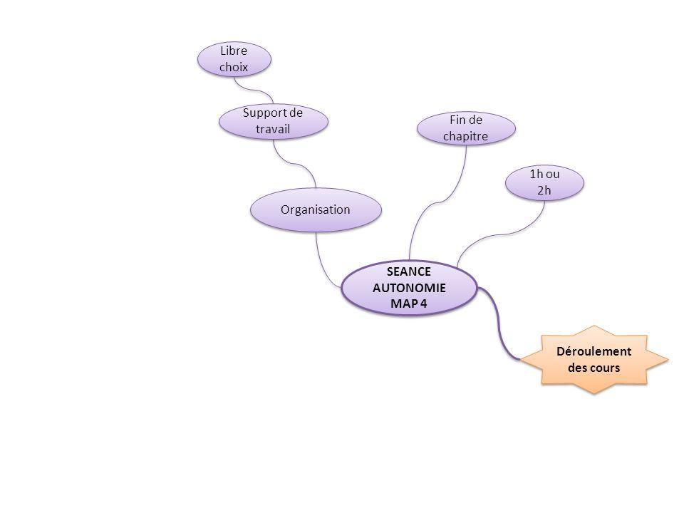 Libre choix Support de travail. Fin de chapitre. 1h ou 2h. Organisation. SEANCE AUTONOMIE. MAP 4.