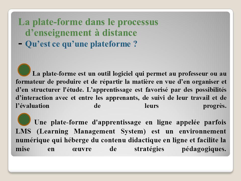 La plate-forme dans le processus d'enseignement à distance