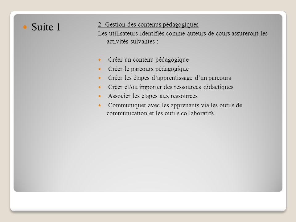 Suite 1 2- Gestion des contenus pédagogiques