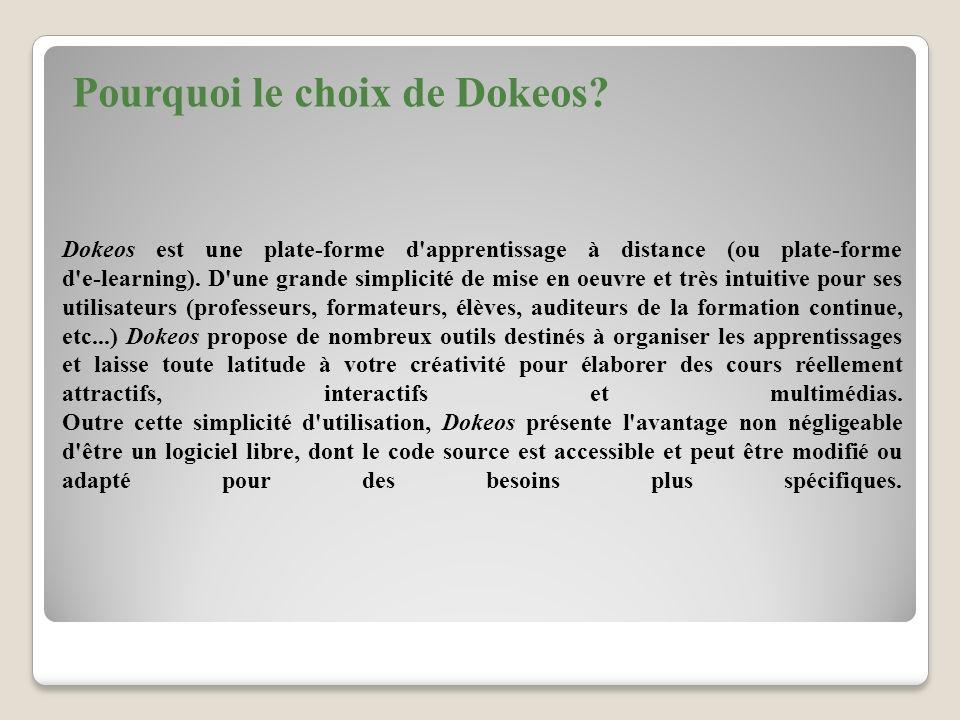 Pourquoi le choix de Dokeos