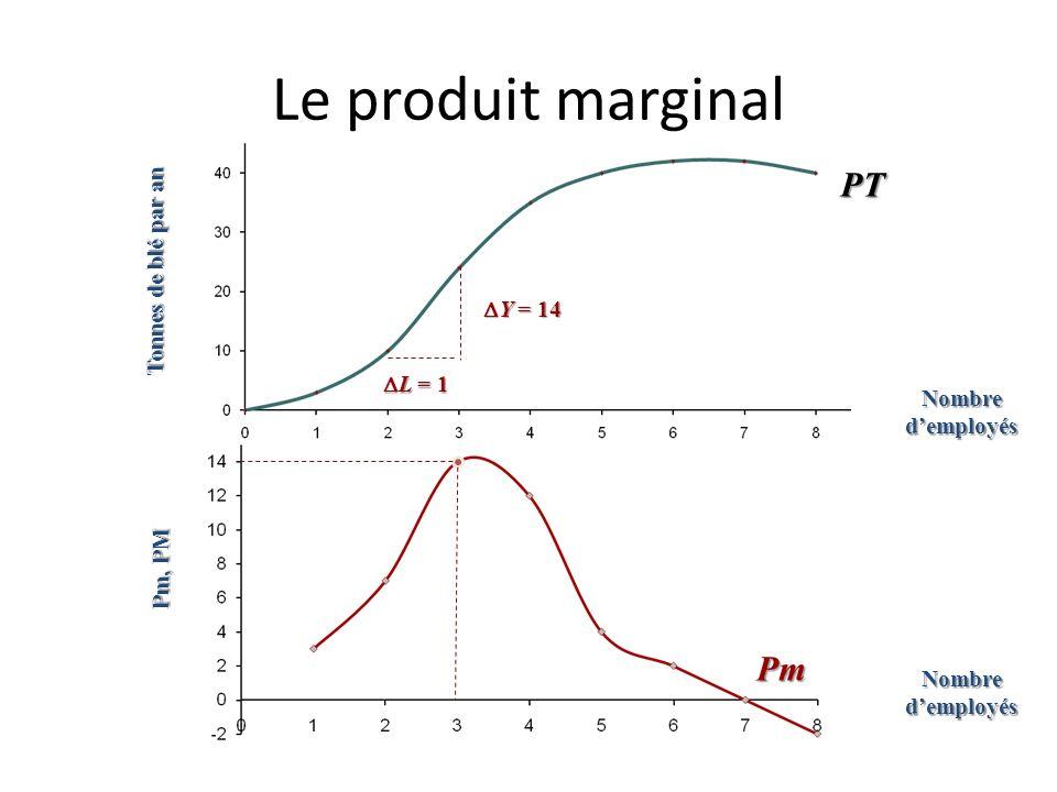 Le produit marginal PT Pm Tonnes de blé par an DY = 14 DL = 1
