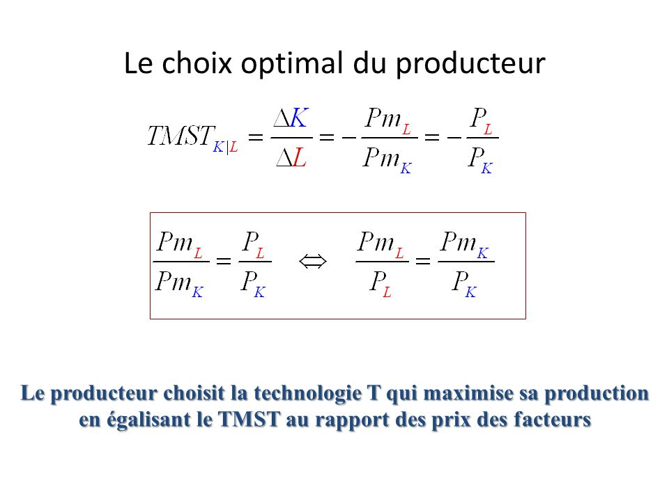Le choix optimal du producteur