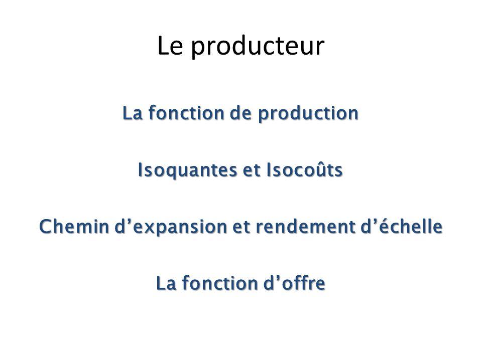 Le producteur La fonction de production Isoquantes et Isocoûts
