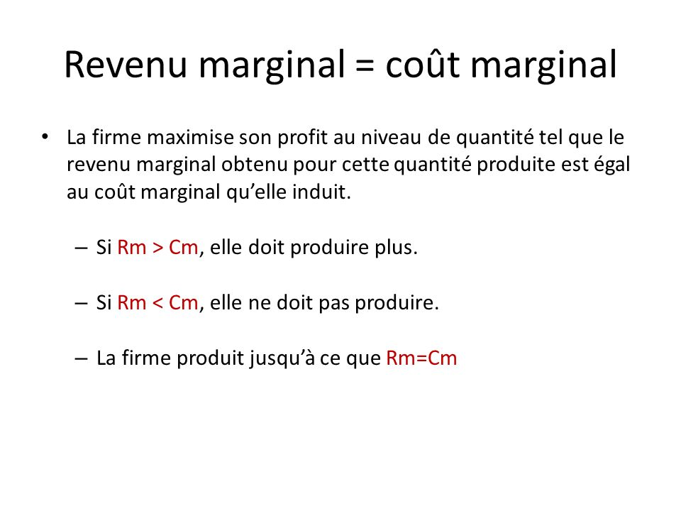 Revenu marginal = coût marginal