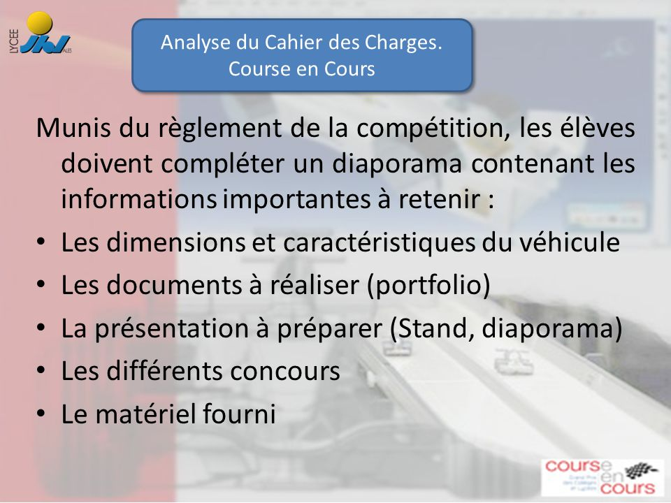 Analyse du Cahier des Charges.