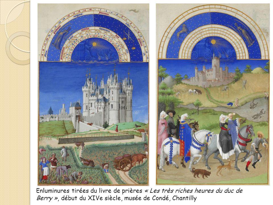 Enluminures tirées du livre de prières « Les très riches heures du duc de Berry », début du XIVe siècle, musée de Condé, Chantilly
