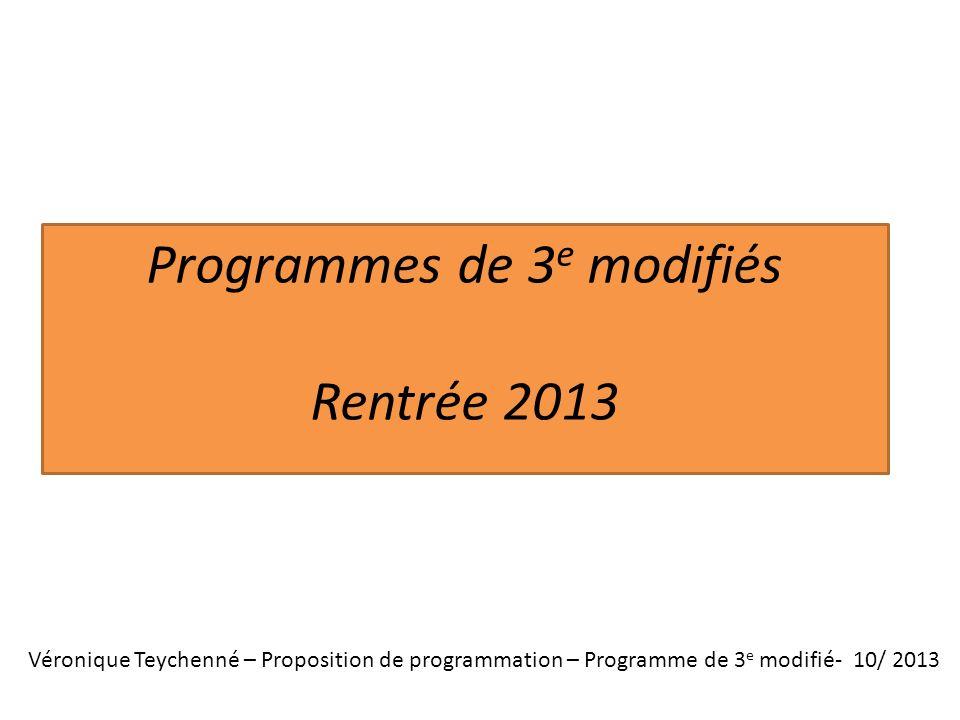 Programmes de 3e modifiés