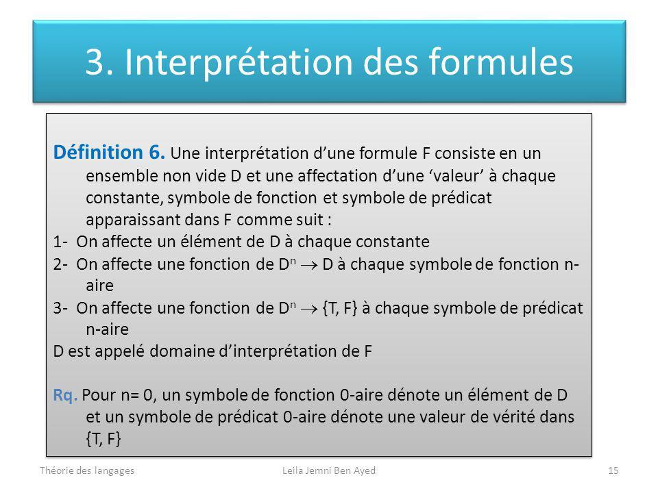 3. Interprétation des formules