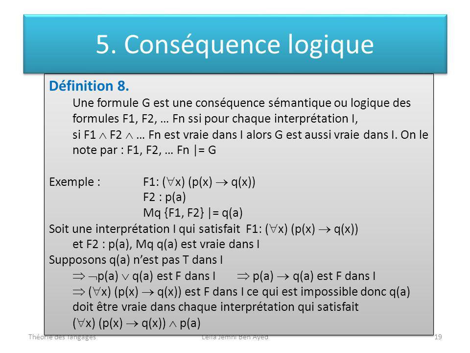 5. Conséquence logique Définition 8.