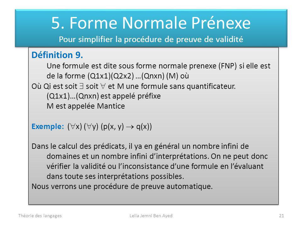 5. Forme Normale Prénexe Pour simplifier la procédure de preuve de validité