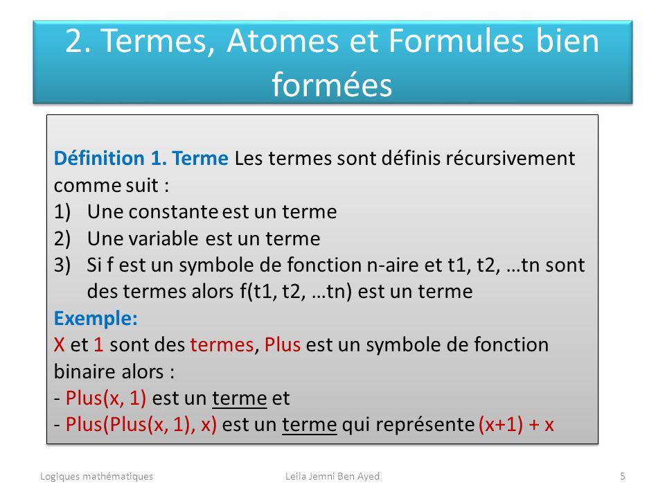 2. Termes, Atomes et Formules bien formées