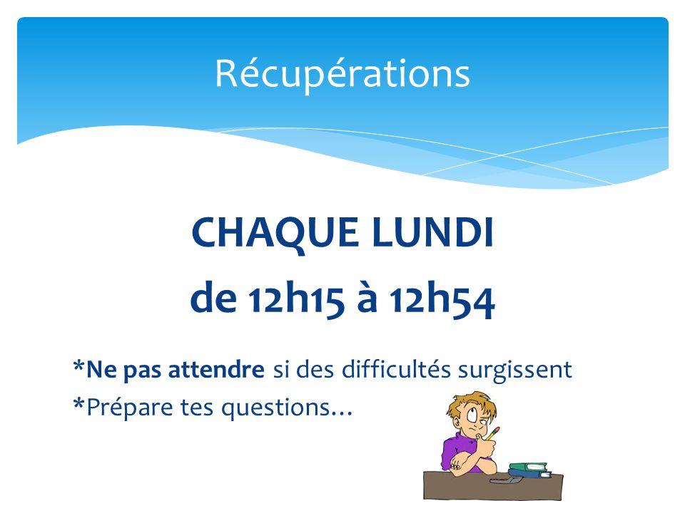 CHAQUE LUNDI de 12h15 à 12h54 Récupérations