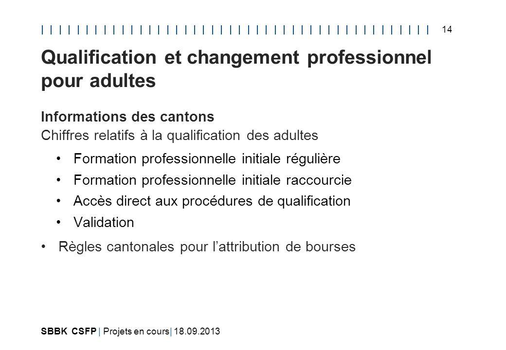 Qualification et changement professionnel pour adultes