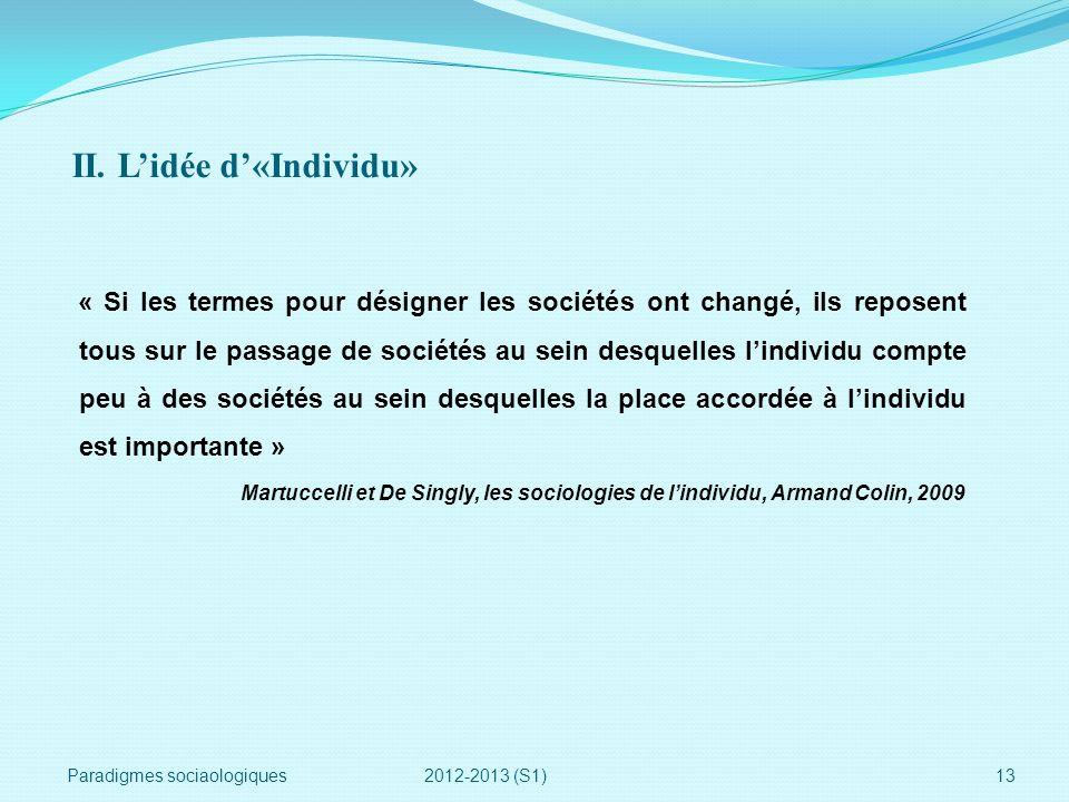 II. L'idée d'«Individu»
