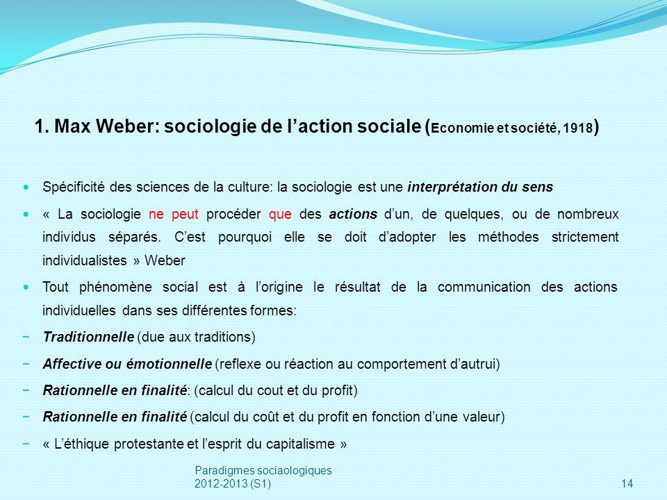 1. Max Weber: sociologie de l'action sociale (Economie et société, 1918)