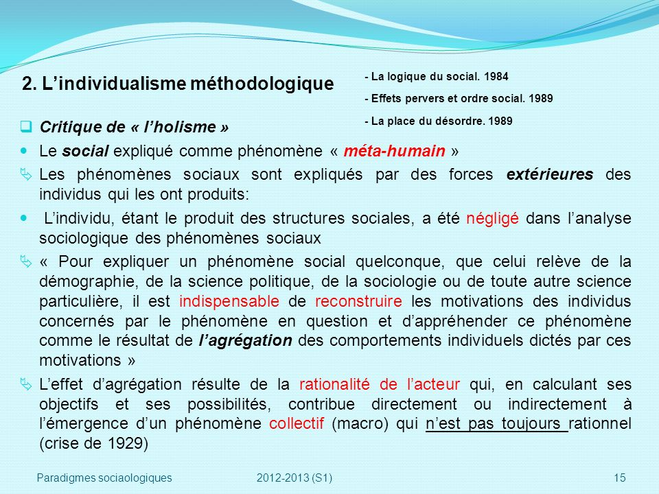 2. L'individualisme méthodologique