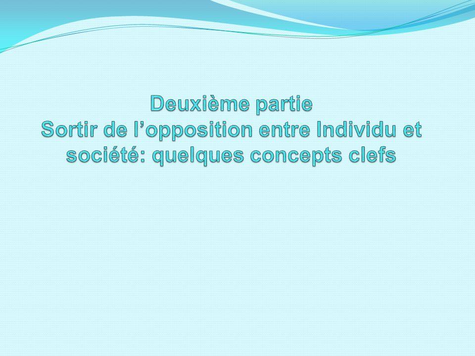 Deuxième partie Sortir de l'opposition entre Individu et société: quelques concepts clefs