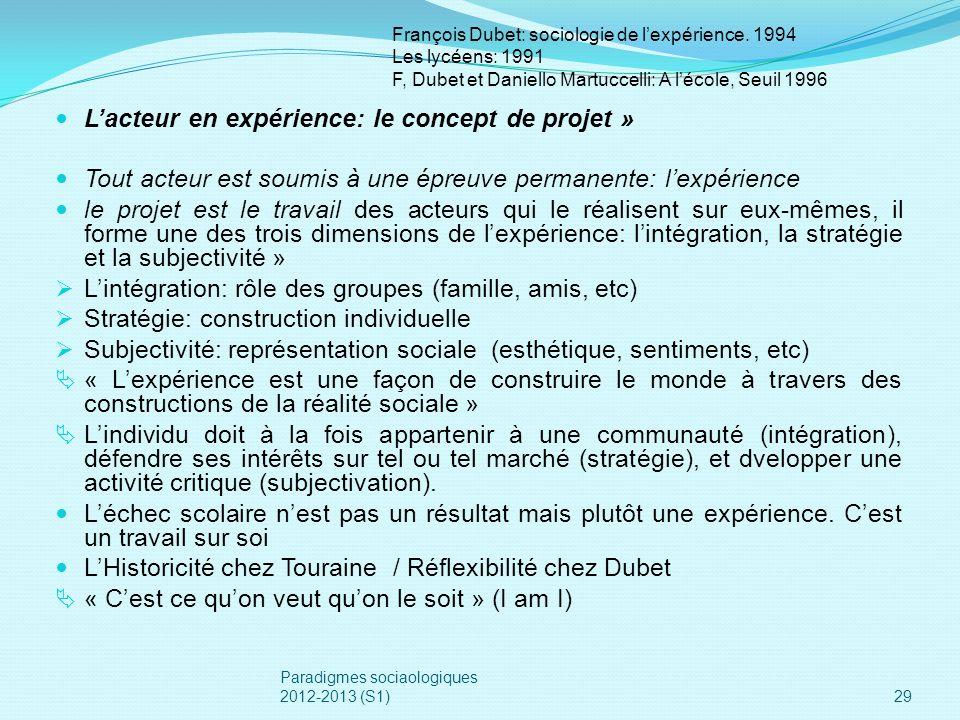 L'acteur en expérience: le concept de projet »