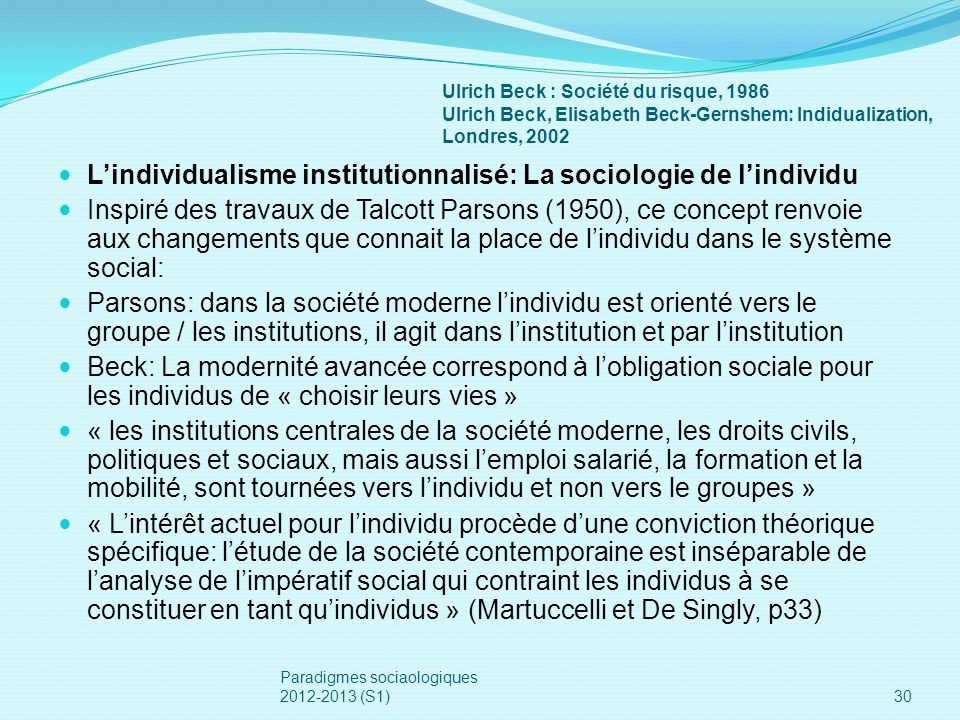 L'individualisme institutionnalisé: La sociologie de l'individu
