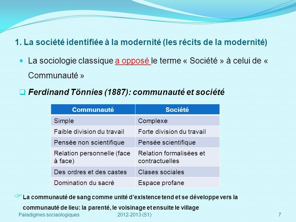 1. La société identifiée à la modernité (les récits de la modernité)
