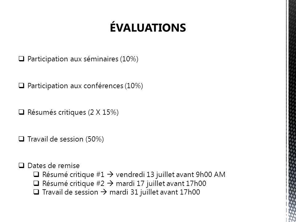ÉVALUATIONS Participation aux séminaires (10%)