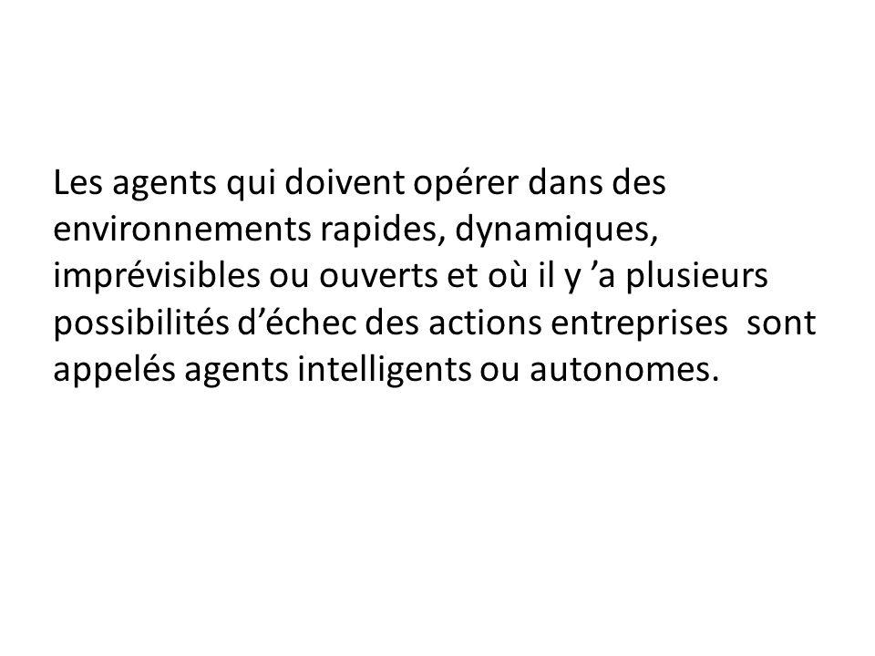 Les agents qui doivent opérer dans des environnements rapides, dynamiques, imprévisibles ou ouverts et où il y 'a plusieurs possibilités d'échec des actions entreprises sont appelés agents intelligents ou autonomes.