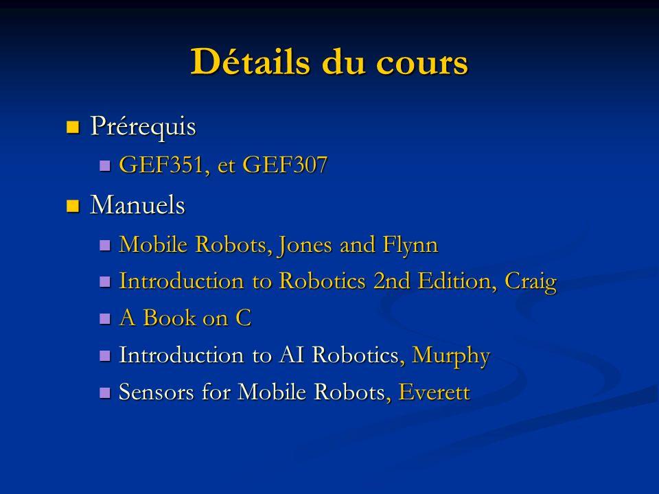 Détails du cours Prérequis Manuels GEF351, et GEF307