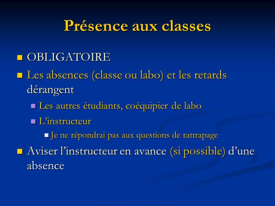 Présence aux classes OBLIGATOIRE