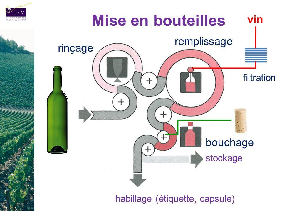 Mise en bouteilles vin remplissage rinçage bouchage filtration
