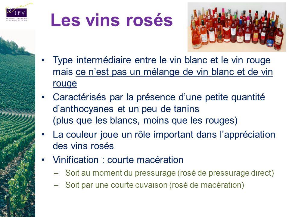 Les vins rosés Type intermédiaire entre le vin blanc et le vin rouge mais ce n'est pas un mélange de vin blanc et de vin rouge.