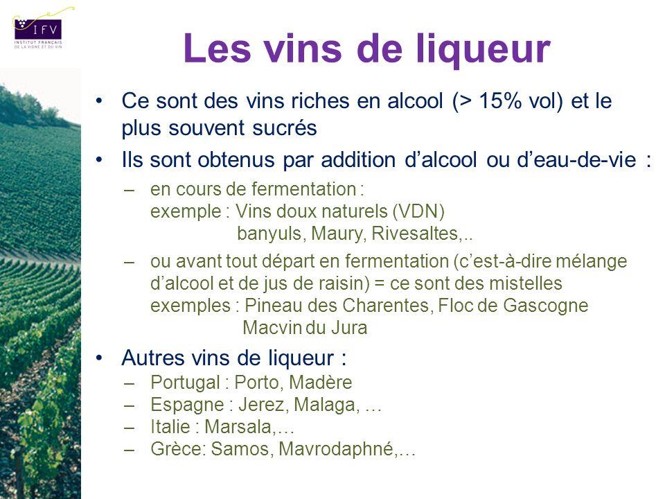 Les vins de liqueur Ce sont des vins riches en alcool (> 15% vol) et le plus souvent sucrés.