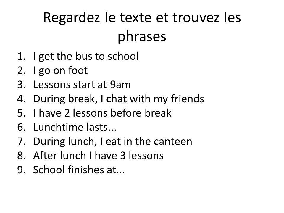 Regardez le texte et trouvez les phrases