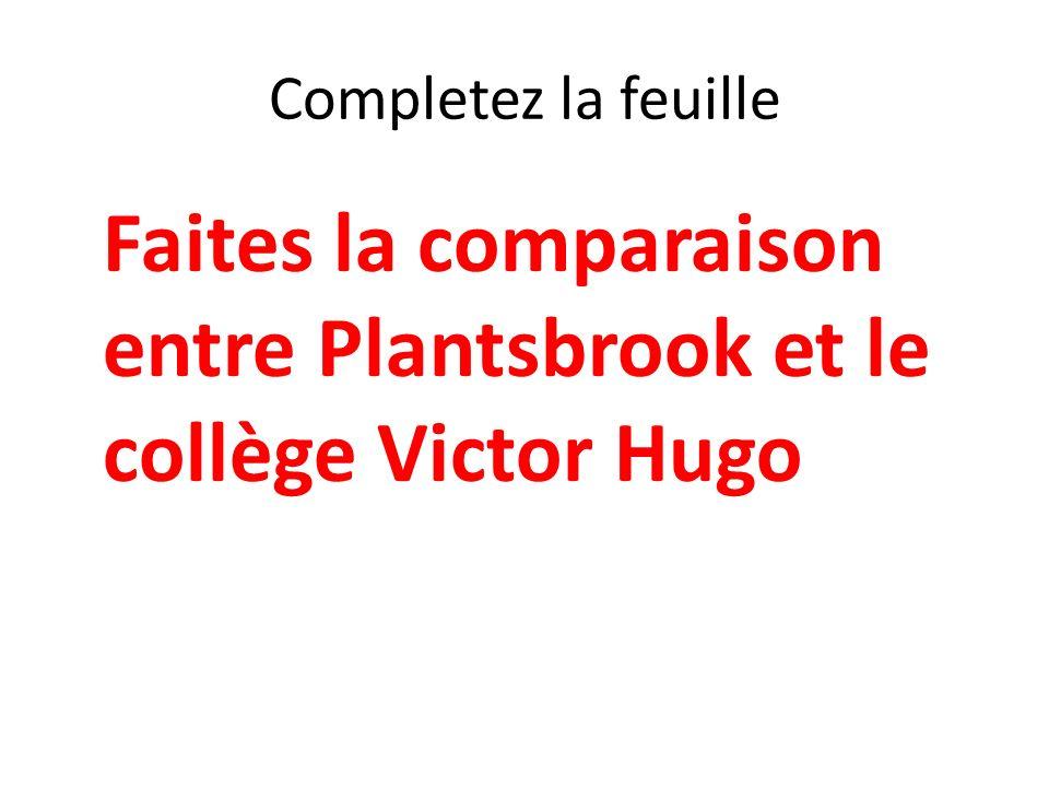 Completez la feuille Faites la comparaison entre Plantsbrook et le collège Victor Hugo.