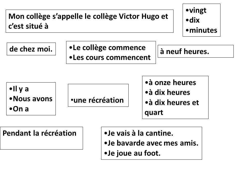 vingt dix. minutes. Mon collège s'appelle le collège Victor Hugo et c'est situé à. Le collège commence.