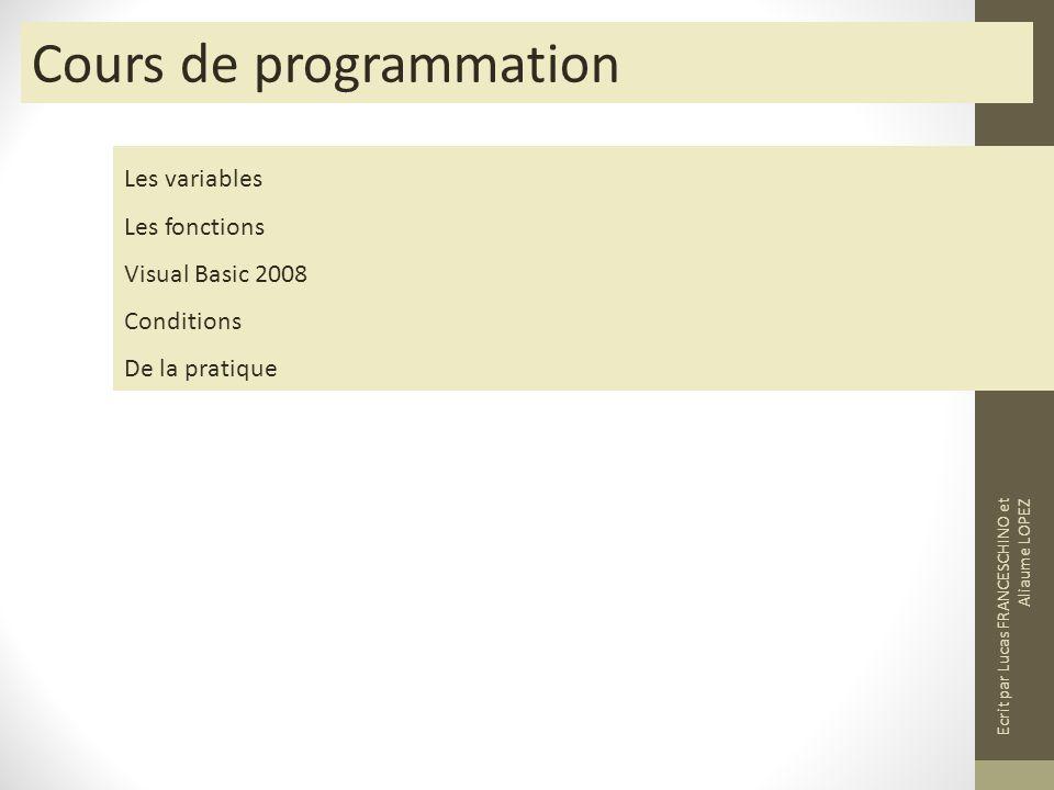 Cours de programmation