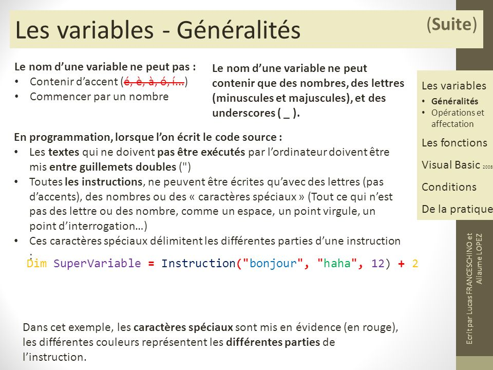 Les variables - Généralités
