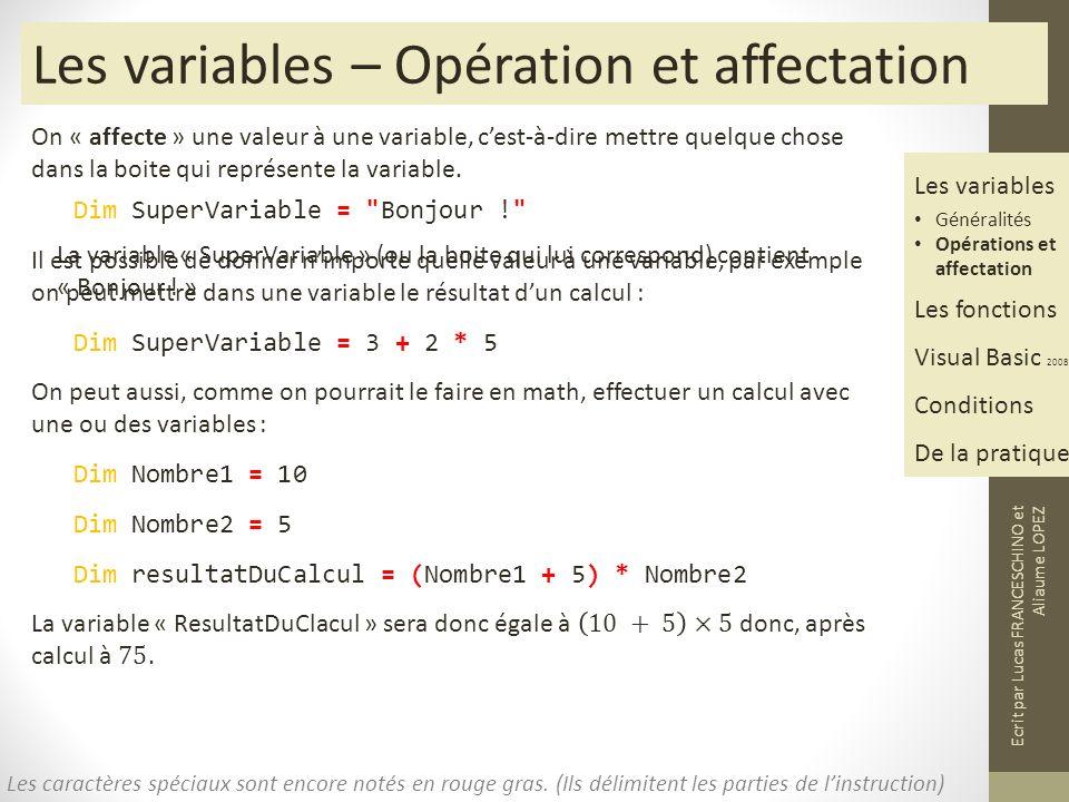 Les variables – Opération et affectation
