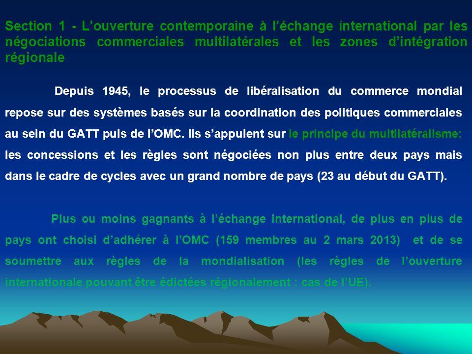 Section 1 - L'ouverture contemporaine à l'échange international par les négociations commerciales multilatérales et les zones d'intégration régionale