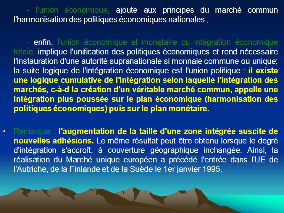 - l union économique, ajoute aux principes du marché commun l harmonisation des politiques économiques nationales ;