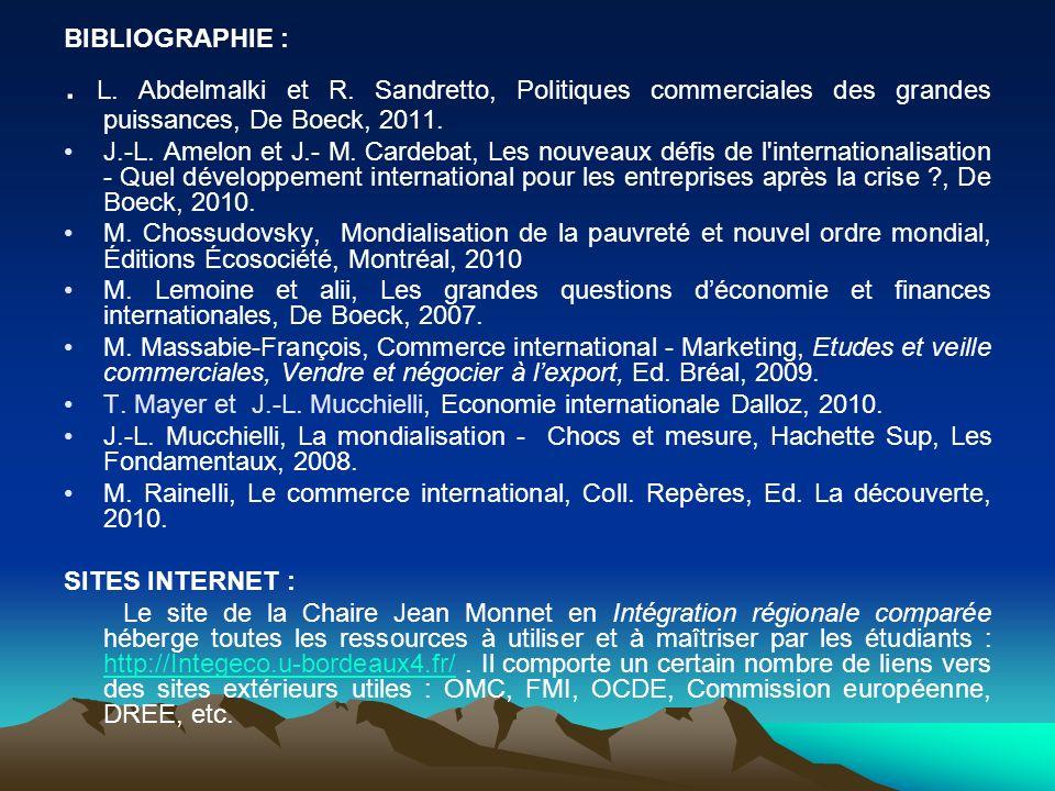 BIBLIOGRAPHIE : . L. Abdelmalki et R. Sandretto, Politiques commerciales des grandes puissances, De Boeck, 2011.